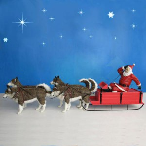 Santa Sled with Husky Dogs