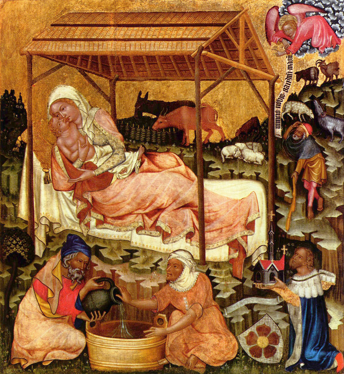 Miniature medieval painting of the Nativity by Master of Vyšší Brod