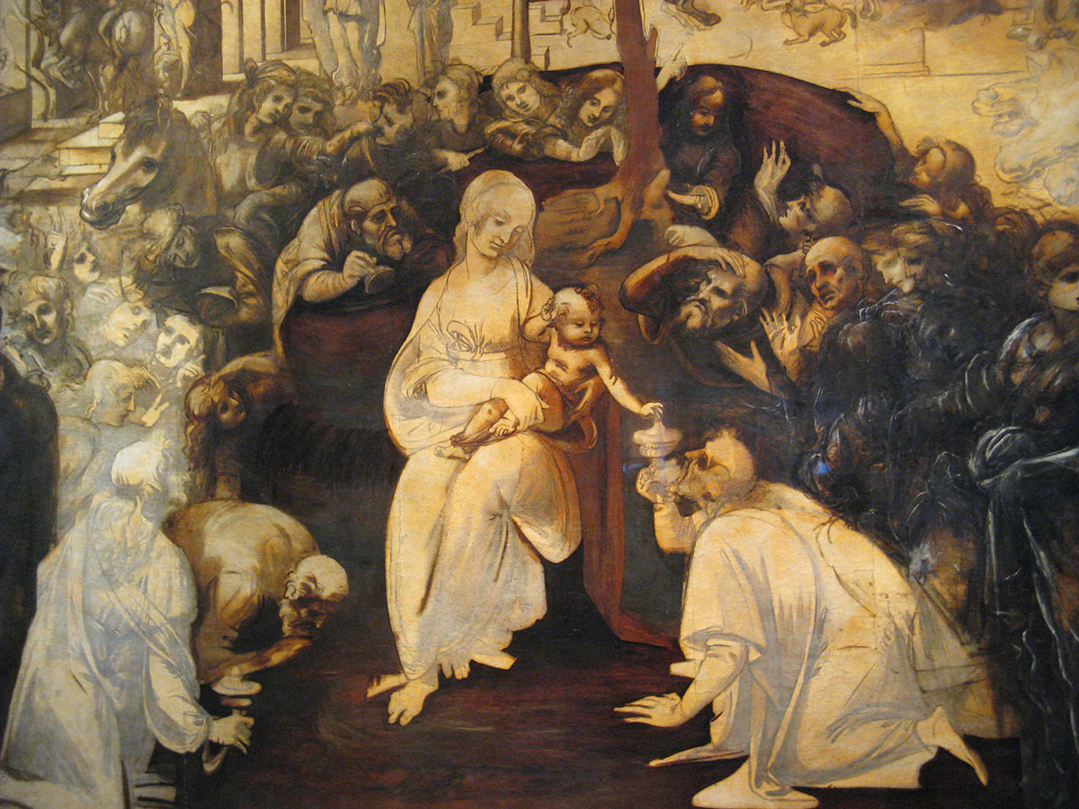 Leonardo da Vinci: Adoration of the Magi in the Uffizi Gallery