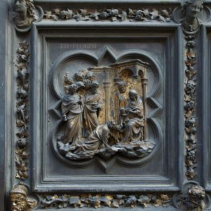 Nativity scene on bronze doors of Florence Baptistry