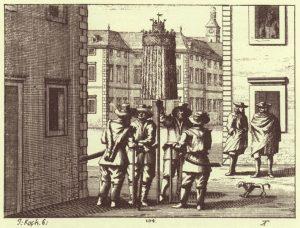 Men singing carols in the street by Janez Vajkard Valvasor