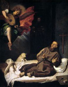 St. Francis Comforted by an Angel Playing Music