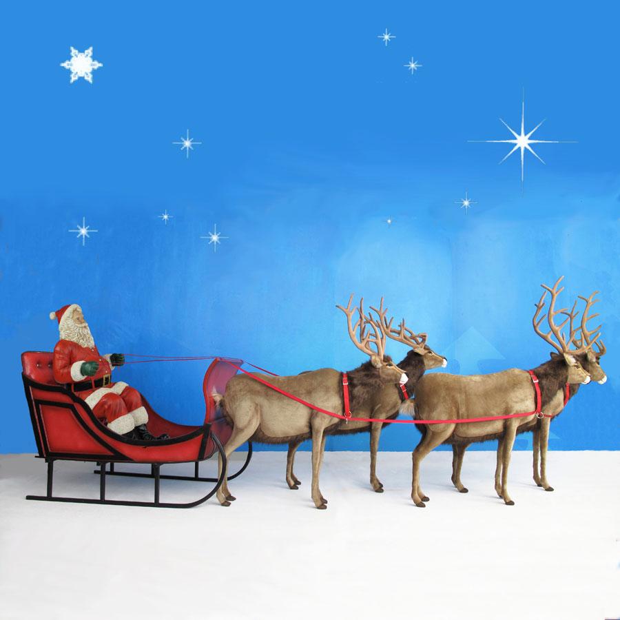 Santa with Sleigh and Reindeer Display