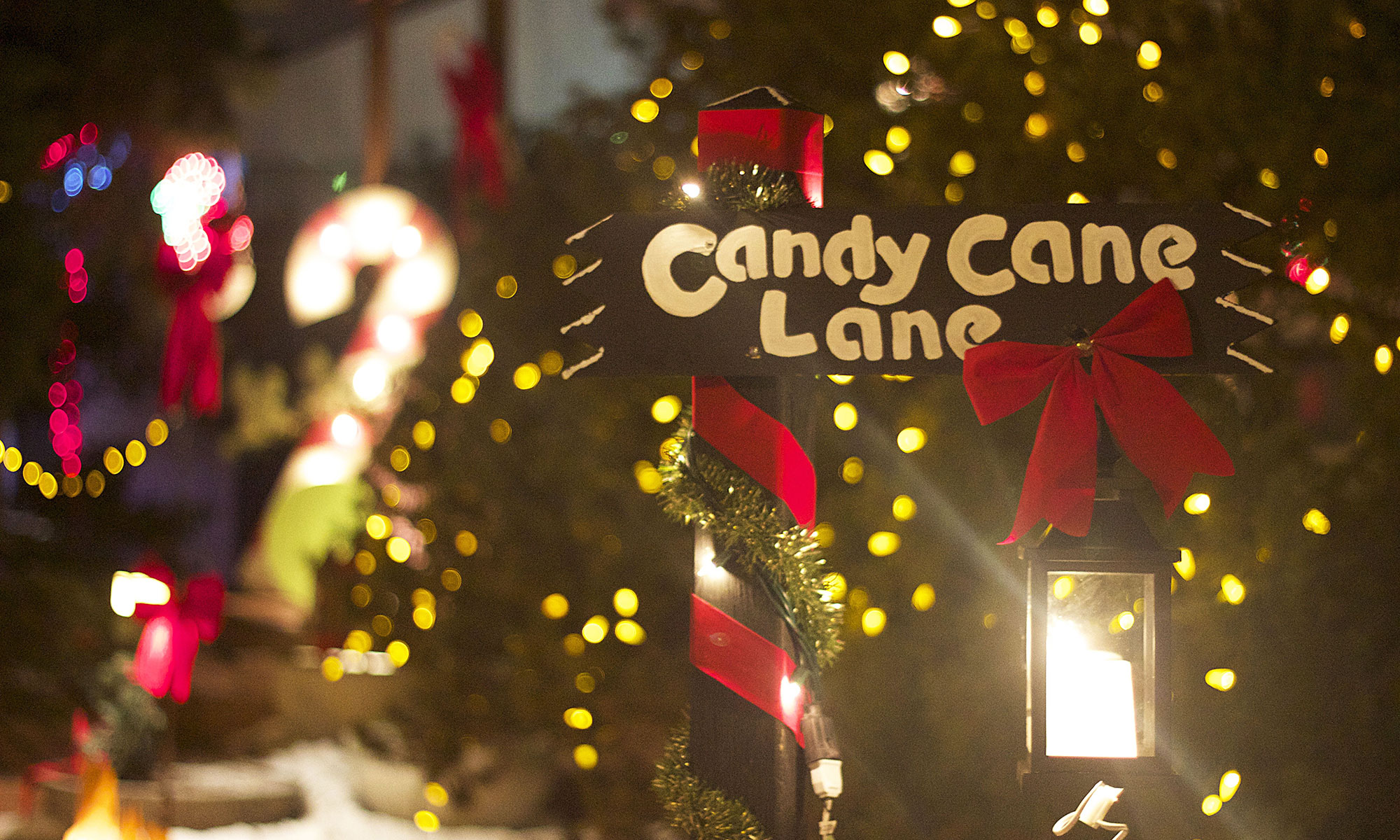 Candy Cane Lane with giant candy canes