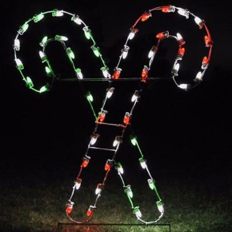 Lighted candy cane with red, white, and green LED bulbs