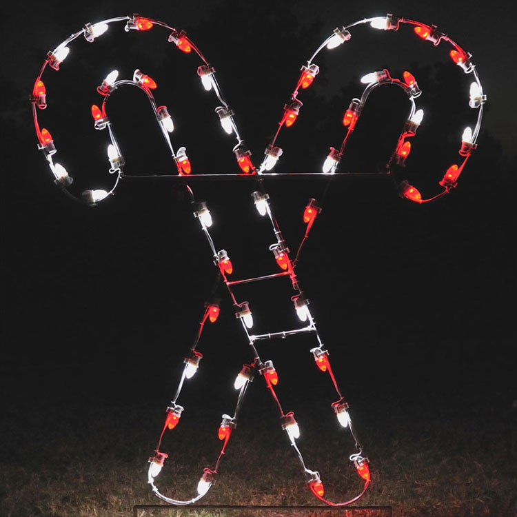 Lighted candy cane with red and white LED bulbs