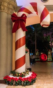 Giant candy cane in a shopping mall
